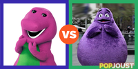 Who would win this battle of purple fuzzy beasts